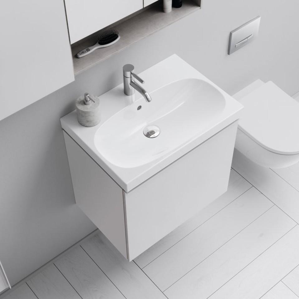 Compacte wastafel voor de kleinere badkamer.