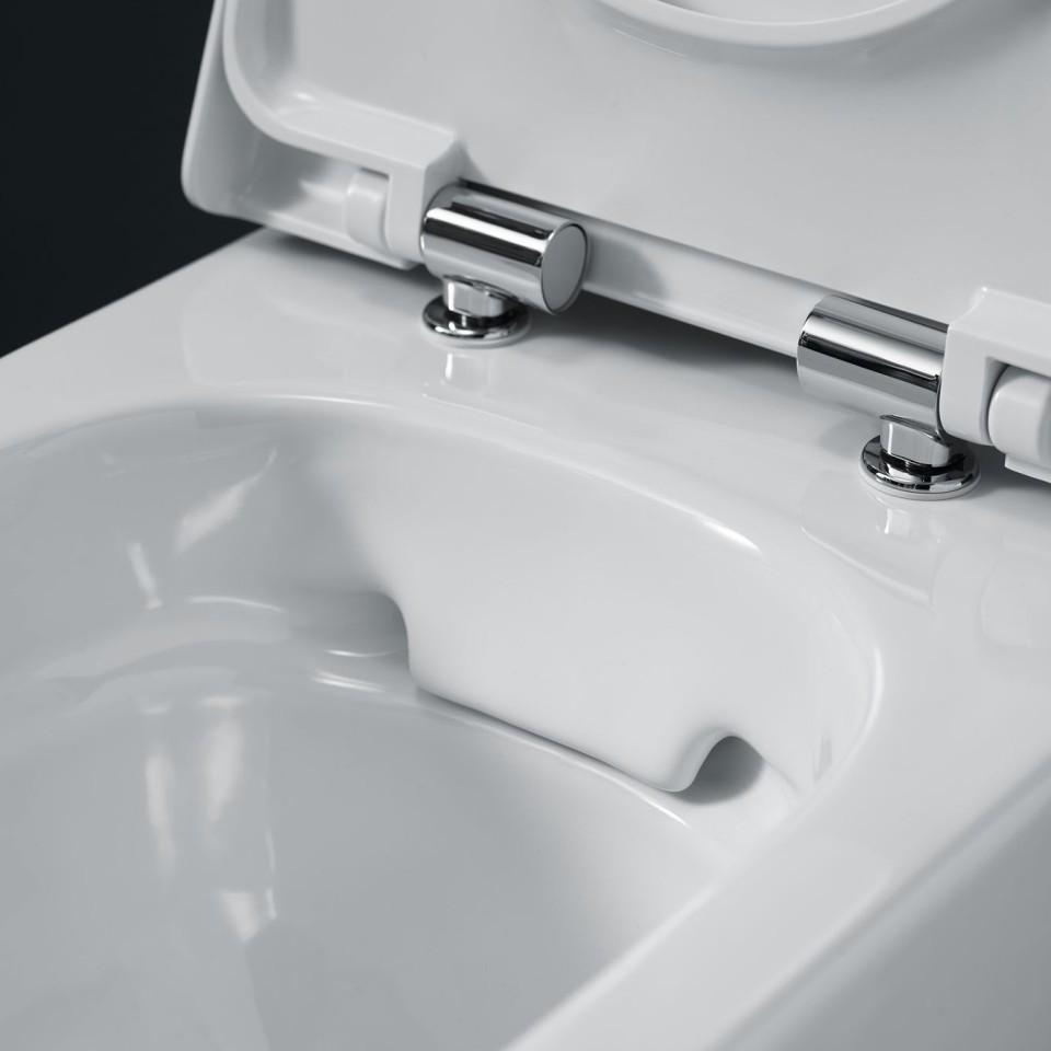 De Rimfree® wc's van de Geberit Smyle serie hebben geen spoelrand en zijn daardoor eenvoudig schoon te maken.